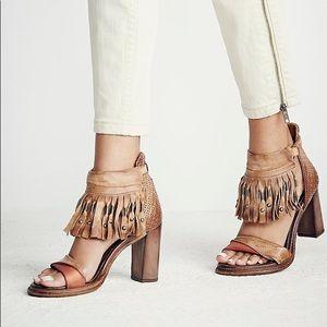 Leather Fringe Ankle Strap Heels